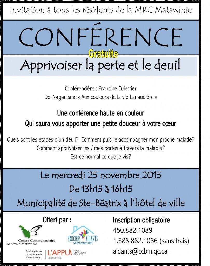 Conférence sur le deuil gratuite à Ste-Béatrix